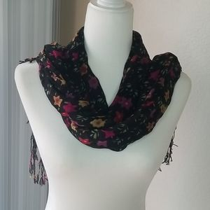 Floral black and red scarf.